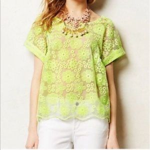 ANTHRO | Meadow Rue Floral Yellow Organza Lace Top